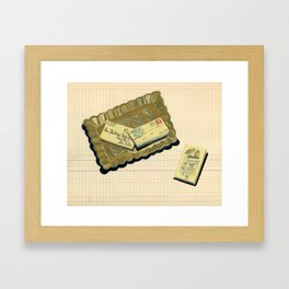 Brass Tray with Vintage Postage Holders in Gouache Framed Art Print