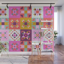 Maroccan tiles pattern with pink no4 Wall Mural