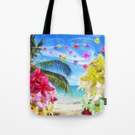 Tropical Beach and Exotic Plumeria Flowers Tote Bag