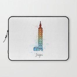 Taipei landmark with watercolor splatters Laptop Sleeve