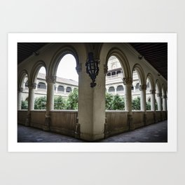 Spanish Cloister with Orange Trees Art Print