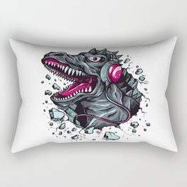 Arsenic Druck Dino with Headphones Rectangular Pillow