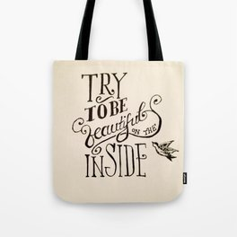 Hand-lettered 'beautiful' print Tote Bag