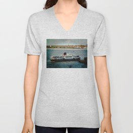 FERRY CROSSING THE RIVER MERSEY, LIVERPOOL Unisex V-Neck