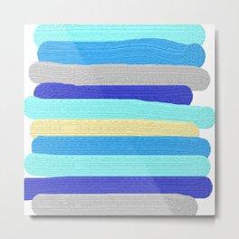 Ocean Blue Painter's Stripes Metal Print