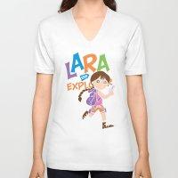 megan lara V-neck T-shirts featuring Lara the Explorer by Gimetzco's Damaged Goods