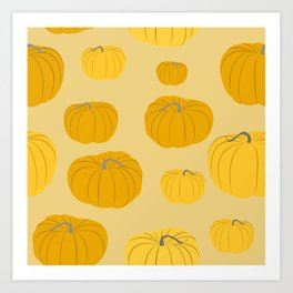 Autumn Pumpkins Tan Art Print