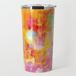 OFF THE GRID Colorful Pastel Neon Abstract Watercolor Acrylic Textural Art Painting Nature Rainbow  Travel Mug