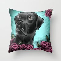lab Throw Pillows featuring Black Lab... by Lily Fitch
