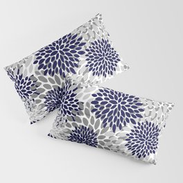 Abstract, Floral Prints, Navy Blue and Grey Pillow Sham