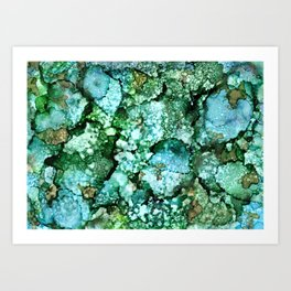 Window View on a Rainy Spring Day - Green, Blue, Brown Ink Drops Art Print
