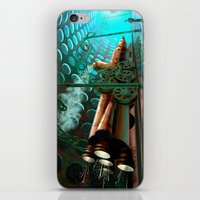 steam punk iPhone & iPod Skins featuring Steam Train Punk by Goodson Productions