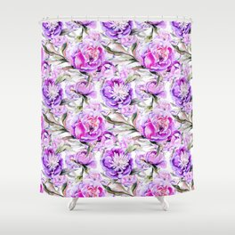 Modern lilac violet watercolor hand painted floral motif Shower Curtain