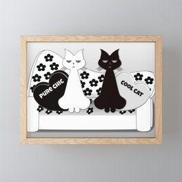 Black and White Cats on a Fifties Style Vintage Sofa Framed Mini Art Print