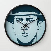 ryan gosling Wall Clocks featuring Gosling by Jeroen van de Ruit