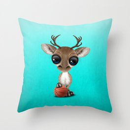 Cute Baby Reindeer Playing With Basketball Throw Pillow