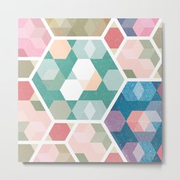 Pastel Hexagon Pattern Metal Print