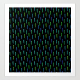 Neon Blue and Green Pattern Art Print