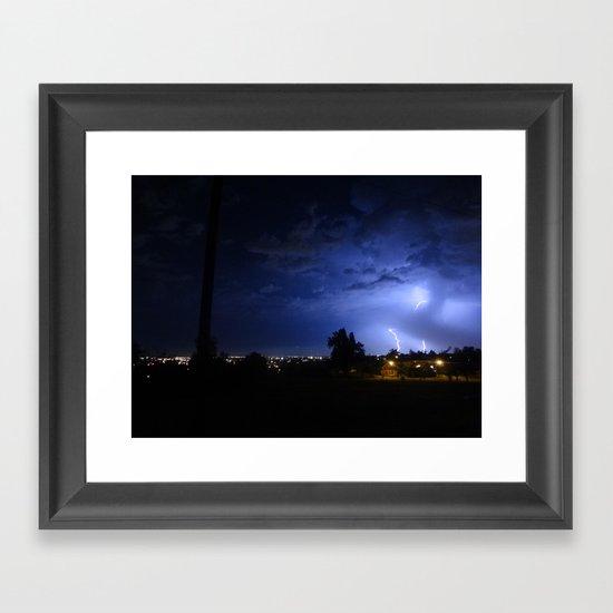 lightening over resevoir hill Framed Art Print