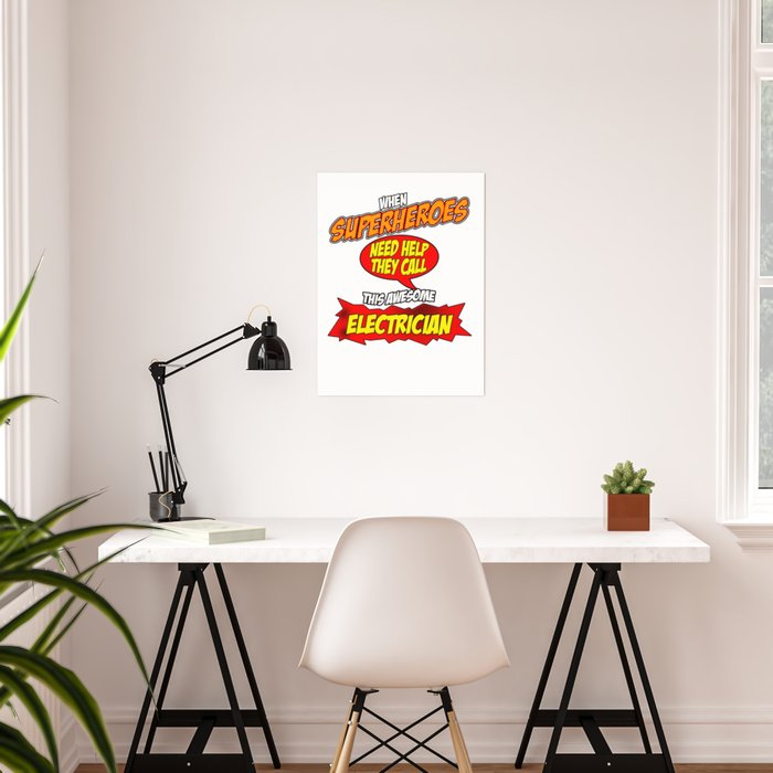 Funny Electrician hero design - Comic Style - perfect gift Poster