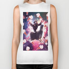 Cowboy Space Sloth On Llama Unicorn - Ice-Cream Biker Tank