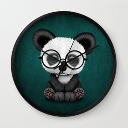 Cute Panda Bear Cub with Eye Glasses on Teal Blue Wall Clock