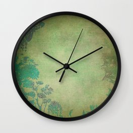 Grunge Garden Canvas Texture:  Green and Teal Butterfly Floral Wall Clock
