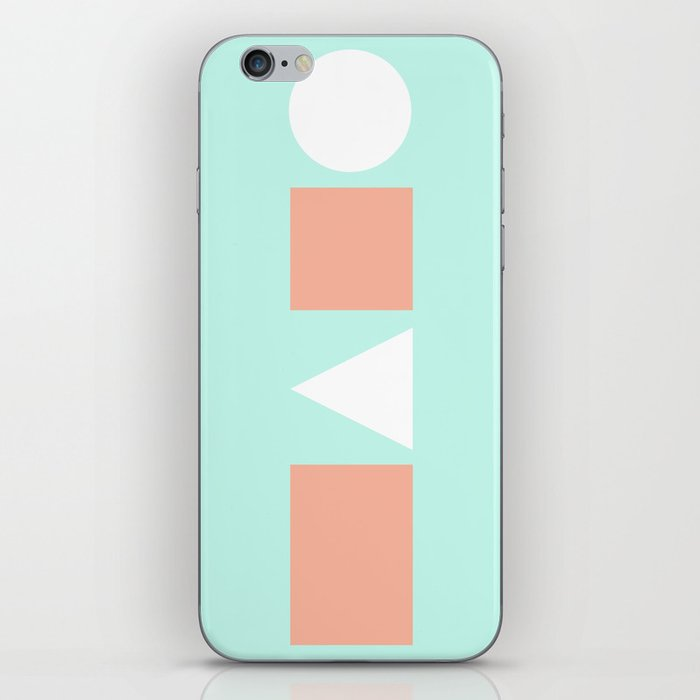 Turquoise & Coral (5) iPhone Skin