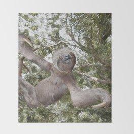 Tree hugging three toed Sloth Throw Blanket