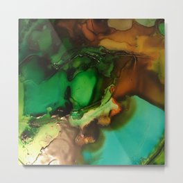 Melting Crystals, Green, Yellow, Brown an Aqua Metal Print