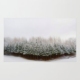 Evergreen Forest in Snow (Color) Rug
