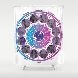 Starlight Zodiac Wheel Shower Curtain