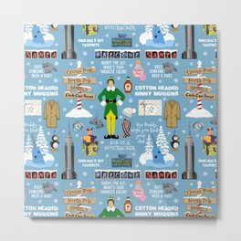 Buddy the Elf collage, Blue background Metal Print