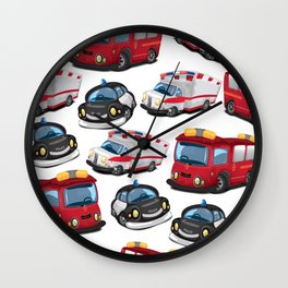 Fire, Police and Ambulance toy car pattern Wall Clock
