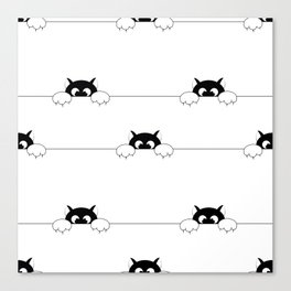 seamless pattern with black smal cat is afraid of punishment Canvas Print