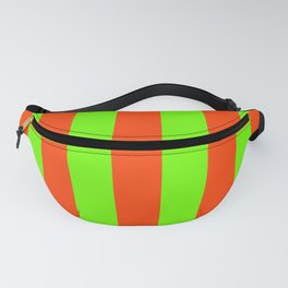 Bright Neon Green and Orange Vertical Cabana Tent Stripes Fanny Pack