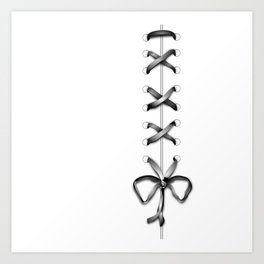 Laced Gray Ribbon on White Art Print