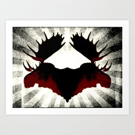 Moose Heads Art Print