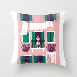 Afternoon in Burano Throw Pillow