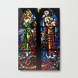 Stained Glass Window At Le Mont Saint Michel Metal Print