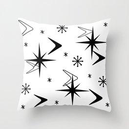 Vintage 1950s Boomerangs and Stars White Throw Pillow