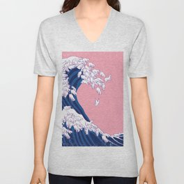Llama Waves in Pink Unisex V-Neck