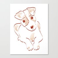jack russell Canvas Prints featuring Jack russell by 1 monde à part