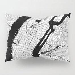 New York City Black and White Map Pillow Sham
