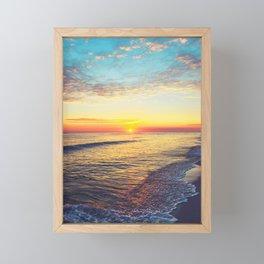 Summer Sunset Ocean Beach - Nature Photography Framed Mini Art Print