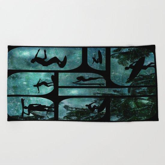 Starry Surfers Beach Towel