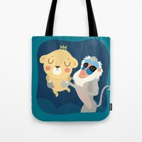 king Tote Bags featuring King by Maria Jose Da Luz