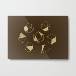 Dice Outline in Gold + Brown Metal Print