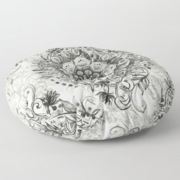 Messy Boho Floral in Charcoal and Cream  Floor Pillow
