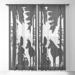 Black Silhouette Red Riding Hood Wolf in Woods Trees Sheer Curtain
